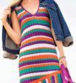 Спицами полосатое платье-сарафан со скошенной линией низа фото к описанию