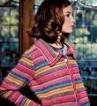 Спицами цветной полосатый жакет с отложным воротничком фото к описанию