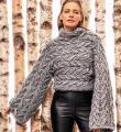 Спицами короткий пуловер крупной вязки с широкими рукавами фото к описанию