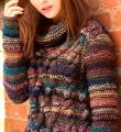 Спицами меланжевый свитер с крупными косами фото к описанию