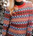Спицами многоцветный жаккардовый свитер фото к описанию
