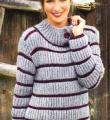 Спицами полосатый пуловер с пуговицами на воротнике фото к описанию