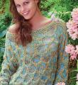 Спицами разноцветный джемпер с широким воротником фото к описанию