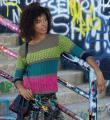 Спицами разноцветный джемпер в полоску фото к описанию