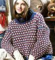 Спицами разноцветный свитер с большим воротником фото к описанию
