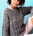 Спицами свободный пуловер из меланжевой пряжи с косой по центру фото к описанию