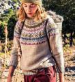 Спицами теплый свитер с жаккардовой кокеткой фото к описанию