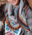 Спицами цветной платок  в этно стиле фото к описанию