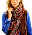 Спицами цветной треугольный платок с ажурным узором фото к описанию