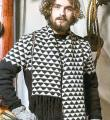Спицами мужской шарф с черно-белым орнаментом фото к описанию