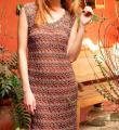 Крючком сетчатое платье до колена с арочным узором фото к описанию