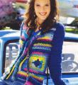 Крючком цветной пуловер из квадратов фото к описанию
