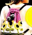 Спицами цветной рюкзак с объемными подсолнухами фото к описанию