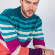 Как связать для мужчин полосатый мужской пуловер