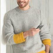 Как связать для мужчин пуловер для мужчины с контрастной вставкой