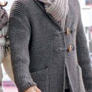 Как связать для мужчин удлиненный мужской кардиган с карманами и шарф