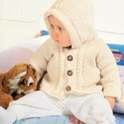 Как связать  белый детский жакет на пуговицах с капюшоном