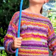 Как связать  цветной джемпер для девочки