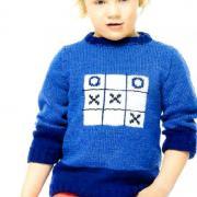Как связать  детская кофта с рисунком «крестики-нолики»