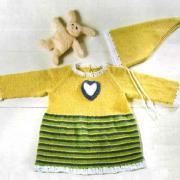 Как связать  детская туника с полосатой юбкой