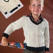 Как связать  детский белый пуловер с v-образным вырезом