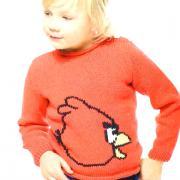 Как связать  детский джемпер с рисунком «angry birds»