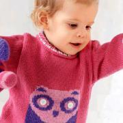 Как связать  детский джемпер с совой