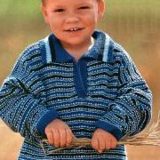 Как связать  детский джемпер с воротничком поло