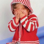 Как связать  детский кардиган в полоску с капюшоном