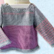 Как связать  детский пуловер с полосатыми рукавами