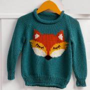 """Как связать  детский пуловер с рисунком """"лиса"""""""