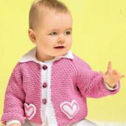 Как связать  детский розовый жакет с карманами