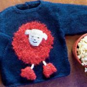 Как связать  детский синий пуловер с игрушкой (овечка)