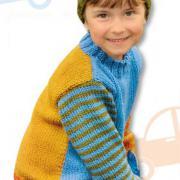 Как связать  детский свитер с полосатыми рукавами и шапочка