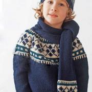 Как связать  детский свитер, шарф и шапочка с жаккардовым узором