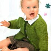 Как связать  детский жакет на пуговицах с контрастной отделой