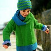 Как связать  двухцветный джемпер для ребенка, шапочка и шарф-петля