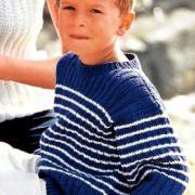Как связать  двухцветный пуловер для мальчика в полоску