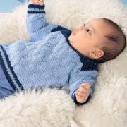 Как связать  двухцветный пуловер для малыша