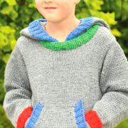 Как связать  джемпер с большим карманом-кенгуру для мальчика