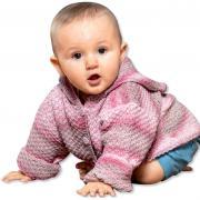 Как связать  кофта в полоску с капюшоном для ребенка до года