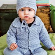 Как связать  кофта с воротничком, полукомбинезон и шапочка для малыша