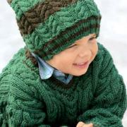 Как связать  объемный детский пуловер с v-образным вырезом и шапка с помпоном
