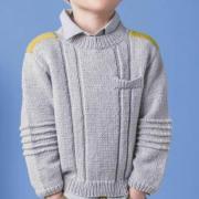 Как связать  подростковый пуловер с контрастной полосой