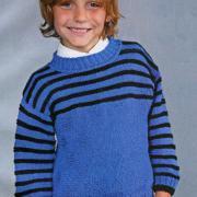 Как связать  полосатый пуловер для мальчика