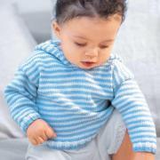Как связать  полосатый пуловер с капюшоном для ребенка до 2х лет