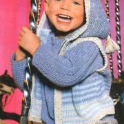 Как связать  полосатый жилет с капюшоном и пуловер