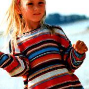 Как связать  пуловер для детей с разноцветными полосами