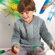 Как связать  пуловер для мальчика с косами