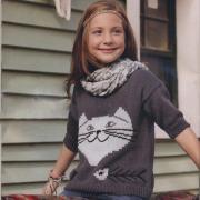 Как связать  пуловер для подростка с кошачьей мордочкой